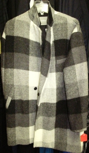 Obedient Sons wool check overcoats (Original markdown: $350)