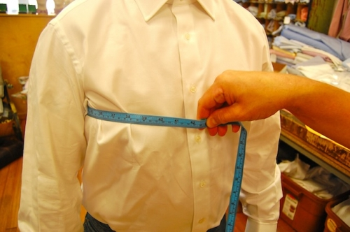 To measure chest circumference, position tape just below armpits