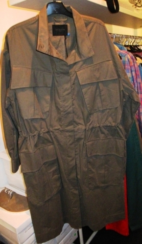 Wood Wood army green cotton trench coats ($125)