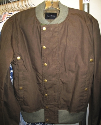 Nom De Guerre brown waxed-cotton bomber ($100)