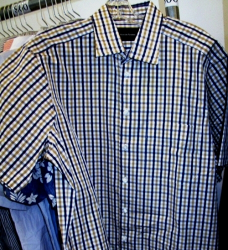 Nom De Guerre plaid short-sleeve shirt ($60)