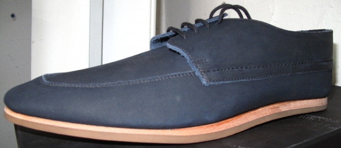 Navy canvas bluchers with wood soles