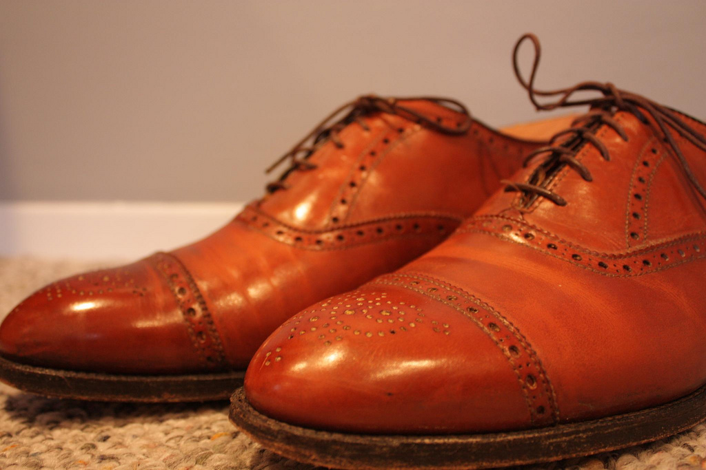 light caramel Aldens with a cap toe and adornments