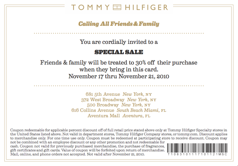 Tommy hilfiger discount coupon