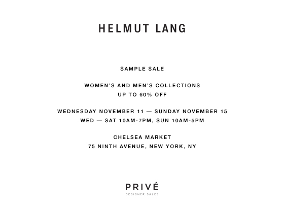 Helmut Lang Sample Sale | The Choosy Beggar