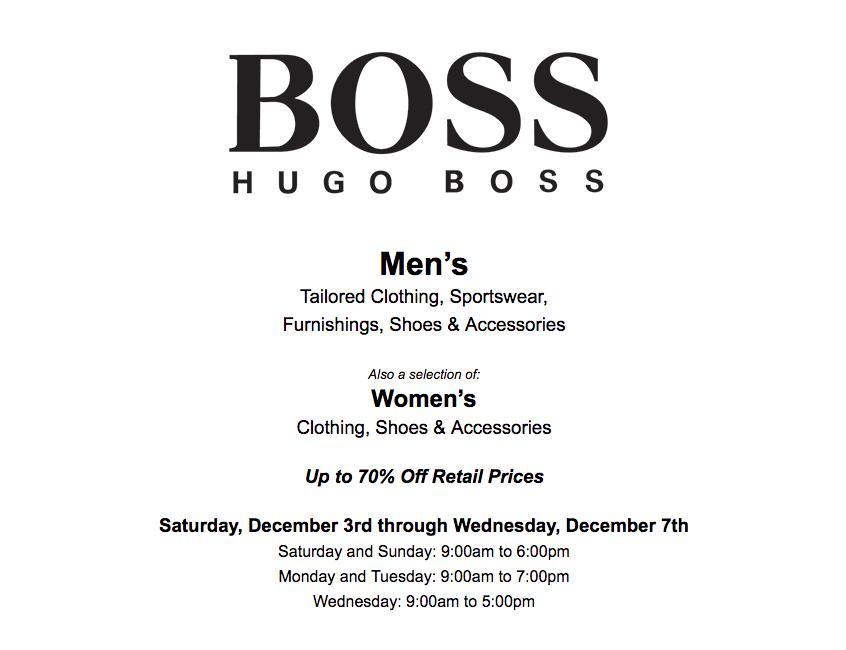 hugo boss sample sale