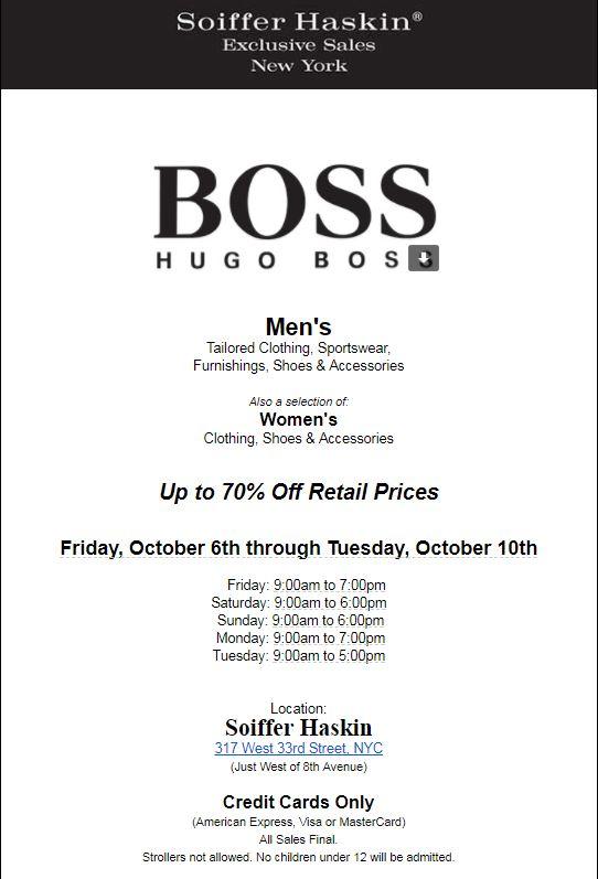 Hugo Boss Flyer   The Choosy Beggar